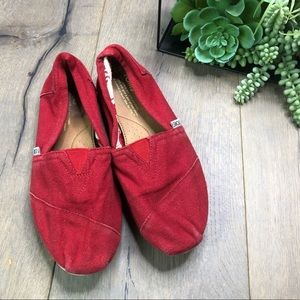 TOMS • Red Classic Slip On Canvas Shoes